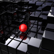 Alone on black cubes — Stock Photo