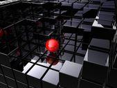 Alone on black cubes — Stock Photo