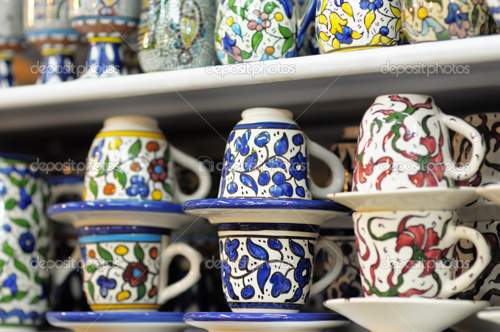 Shop stands with traditional Israeli souvenirs — Stock Photo #12304741