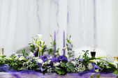 Table set for an wedding reception — Stock Photo
