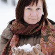 Happy woman in winter — Stock Photo
