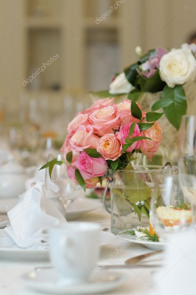 Table set for an event party or wedding reception  Stock Photo #13658747