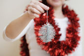 Silvery christmas toy — Stock Photo