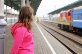 On railway station platform — Stock Photo