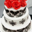Delicious black and white wedding cake — Stock Photo