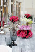 Table set for wedding reception — Foto de Stock