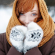 Stock Photo: Young beautiful womin winter