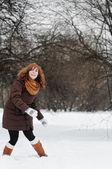 Woamn having fun in winter — Stock Photo
