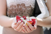 Hand of a woman full of rose petals, focus on petals — Stock Photo
