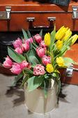 Beautiful pink and yellow tulips — Stock Photo
