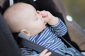 Baby boy sucking his thumb and sleeping — 图库照片