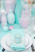 Stylish table set for wedding reception — Stock Photo