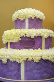 Delicious big violet wedding cake — Stock Photo