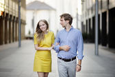Young couple walking together — Stock Photo