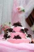 Delicious pink wedding cake  — Stock Photo