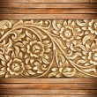 Stock Photo: Wood frame carve flower