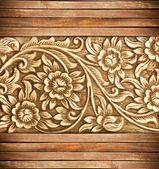 木雕刻花 — 图库照片