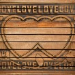 Love wood frame - Foto Stock