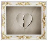 Quadro branco e com o coração partido — Fotografia Stock