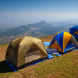 Tourist tent in mountain — Stock Photo