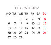 Simple calendar for years 2012 — Stock Photo