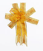 Golden ribbon bow — Stock Photo