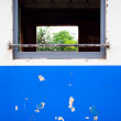 图库照片: Window of blue train
