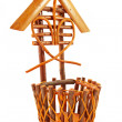 Wicker basket isolated - 图库照片