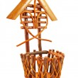 Wicker basket isolated - Stok fotoğraf