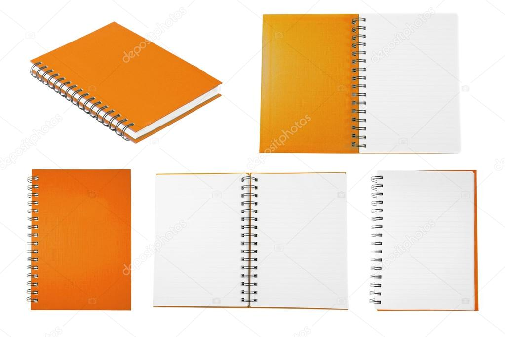 Orange notebook collection isolated on white background — Stock Photo #12655655