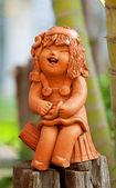 Pottery statuette — Stock Photo