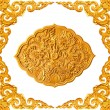 Golden frame and dragon carve - Foto Stock