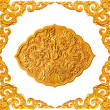 Golden frame and dragon carve - Stock Photo