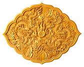 Golden dragon carved — Stock Photo