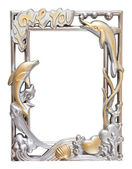 Flower silver and gold frame — Stock Photo