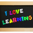 Colorful letters with i love learning — Stock Photo