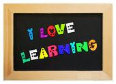 Letras coloridas com eu amam aprendizagem — Fotografia Stock