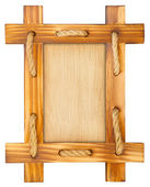 Old wooden frame with rope — Stock Photo