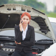 Woman with car broke down — Stock Photo
