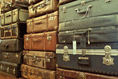 Leather suitcases stacked — Foto de Stock