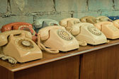 Vintage telephones on the table — Stock Photo