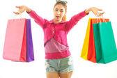 Vrouw bedrijf shopping tassen — Stockfoto