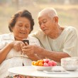 Senior couple using the mobile phone — Stock Photo