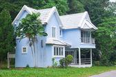 Casa azul en el bosque — Foto de Stock