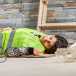 Woman in accident at workplace — Stock Photo