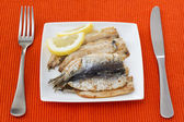 Filetto fritto di sardine al limone — Foto Stock