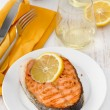 Fried salmon with lemon — Stock Photo