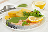 Boiled salmon with sauce and potato — Stock Photo