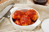 Chicken meatballs with tomato sauce — Stock Photo