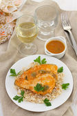 Fish with boiled rice — Stock Photo